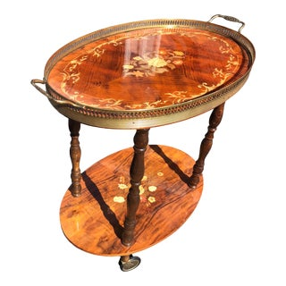 Italian Wood Inlay Serving Cart with Marquetry For Sale