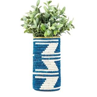 Blue & White Zig Zag Planter For Sale