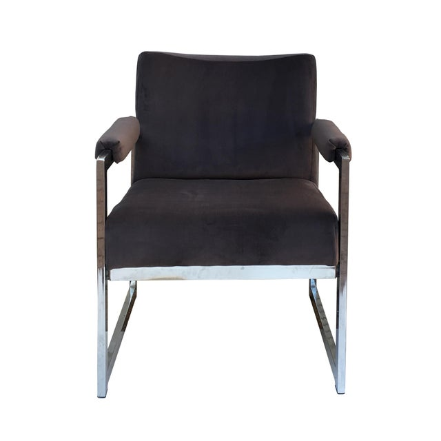 Vintage Modern Chrome & Grey Velvet Chairs - a Pair - Image 2 of 6