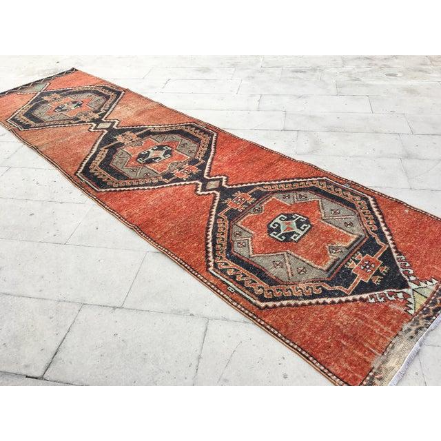 Vintage Turkish Geometric Design Handmade Pastel Rug Runner