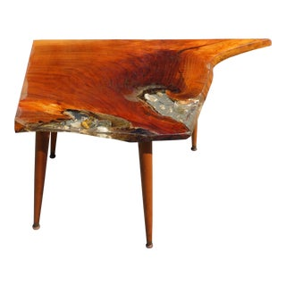 Mid Century Modern Live Edge Solid Slab Coffee / End Table With Shell Inlay