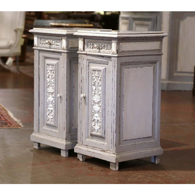Complete a bedroom with this elegant pair of antique bedside tables. Crafted in France circa 1880, the Napoleon III style...