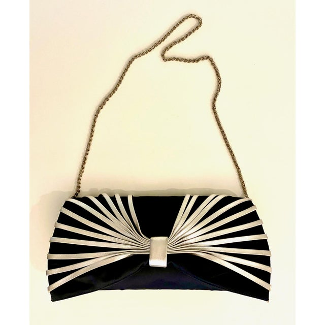 2010s Rodo Navy Silk Clutch With Metallic Silver Leather Detail For Sale - Image 5 of 10
