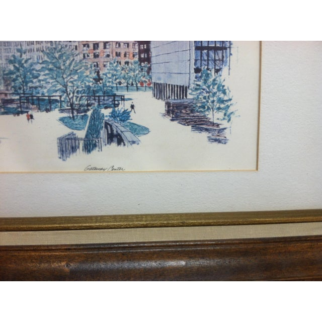 """American 1970s Vintage """"Gateway Center"""" Pittsburgh, Pa Framed & Matted Print For Sale - Image 3 of 5"""