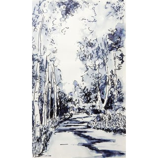 Tree Lined Lane Pen & Ink Drawing Study For Sale