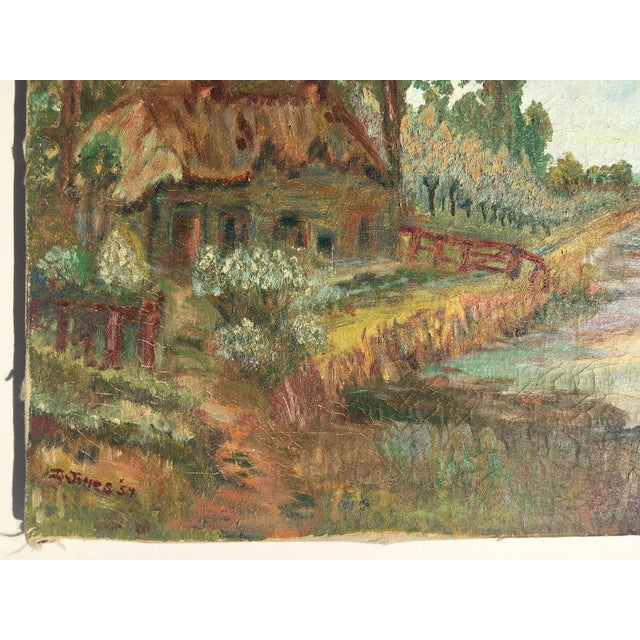 Sweet old painting on canvas of a cottage on a stream. Beautiful colors, Signed I. Jones '54.