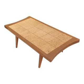 Mid-Century Modern Cork Tile Coffee Table