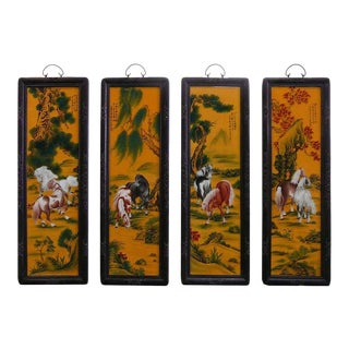 "Chinese Porcelain ""Eight Horse"" Wall Panels - Set of 4 For Sale"