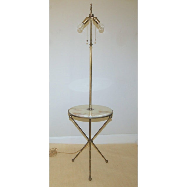 1950s Vintage Bagues Faux Bamboo Tripod Lamp Table For Sale - Image 10 of 11