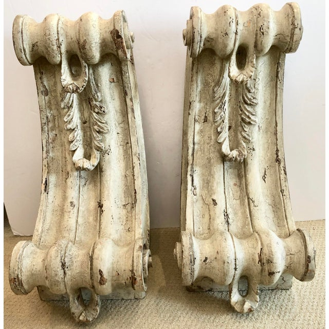 Antique Large Classical Wood Carved Painted Corbels, A-Pair For Sale - Image 13 of 13