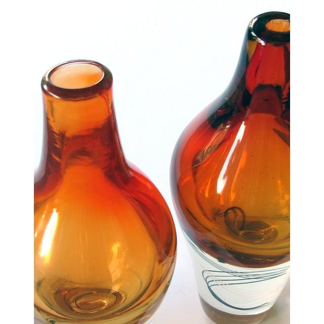 An Exceptional Pair of Kosta Boda Swedish Orange Art Glass Vases; Design by Klas-Goran Tinback For Sale In San Francisco - Image 6 of 7