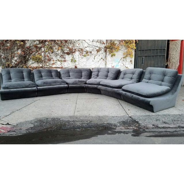 Vladmir Kagan Grey Velvet Sectional Sofa - Image 5 of 5