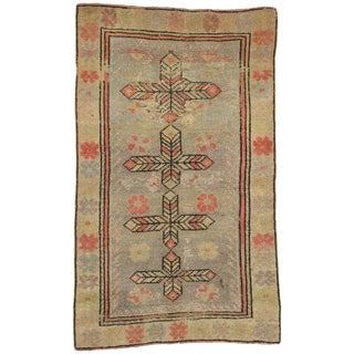 20th Century Rustic Style Distressed Turkish Oushak Rug - 2′2″ × 3′7″ For Sale