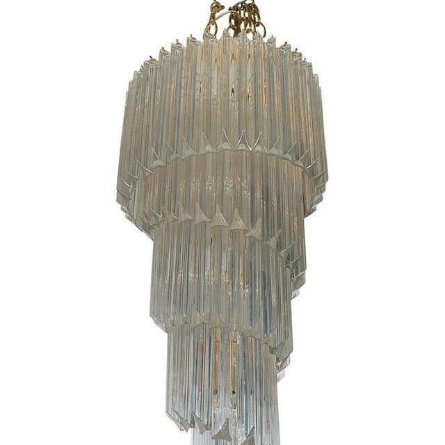 Hollywood Regency Italian Venini Hollywood Regency Murano Brass Crystal Prism Spiral Chandelier For Sale - Image 3 of 4