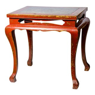 Old Chinese Red Lacquer Wood Carved Center Table With Slate Top For Sale