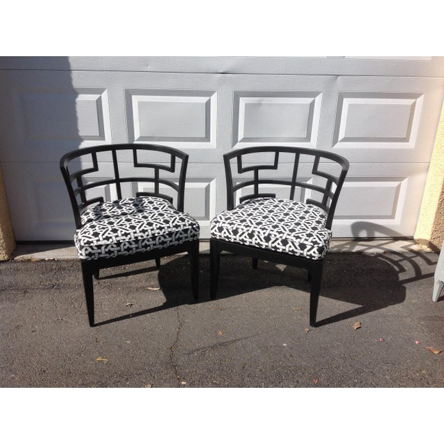 Pop of Black Barrel-Back Chairs - A Pair - Image 2 of 7