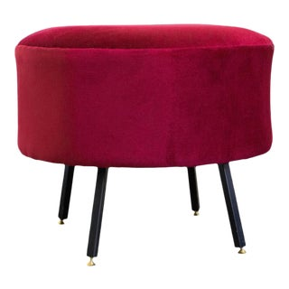 1970s Mid-Century Modern Italian Red Chenille Ottoman For Sale