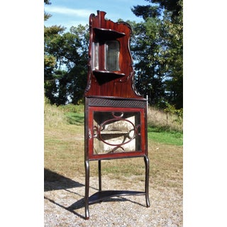 Vintage Cherry Wood Petite Display Vitrine Corner China Curio Cabinet W/ Mirrors Preview