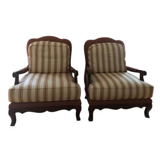 Vintage French Provincial Style Wood Framed Armchairs - A Pair