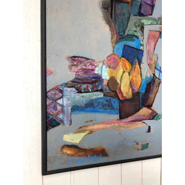 Abstract Colorful Vintage Expressionist Abstract Painting on Stretched Canvas by Eric Marconi For Sale - Image 3 of 8