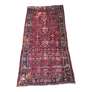 "Persian Distressed Floral Carpet - 9' 4"" X 4' 8"" For Sale"