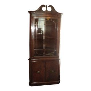 Antique Mahogany Corner Display Cabinet For Sale