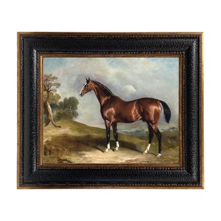 Portrait of Sultan in Landscape Framed Oil Painting Print on Canvas in Leather-Look Black and Antiqued Gold Frame For Sale