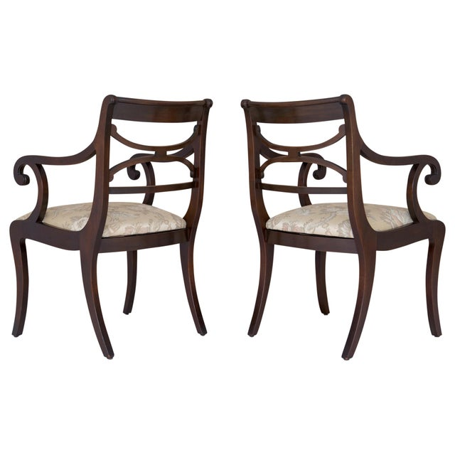 Regency Scrolled Armchairs - A Pair - Image 4 of 8