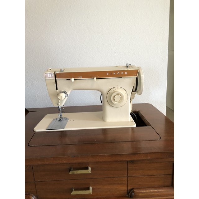 Vintage Mid-Century Singer Sewing Machine Desk - Image 2 of 9