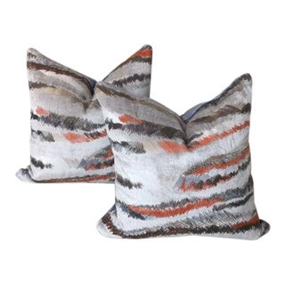 Donghia Rubelli Silver Copper Tiger Striped Wave Velvet Pillows - A Pair For Sale