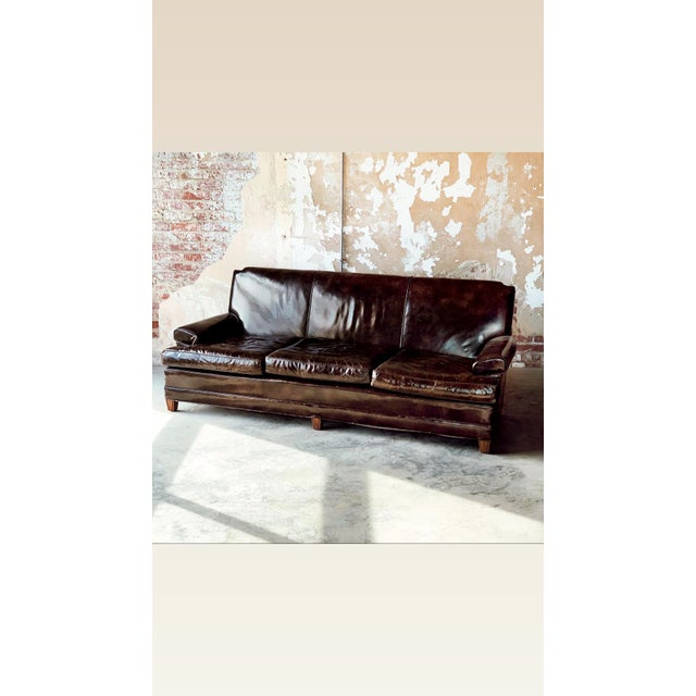 Brown Patent Leather Sofa For Sale - Image 8 of 8