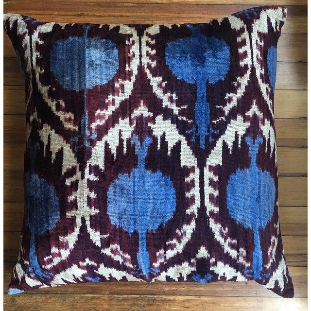 Beautiful vintage ikat velvet throw pillows.