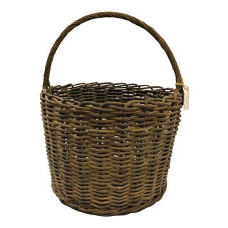 Antique Hand Woven Wicker Basket For Sale