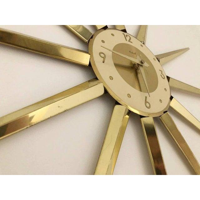 Large Roxhall Brass Spike Sunburst Clock, Circa 1960 For Sale - Image 4 of 6