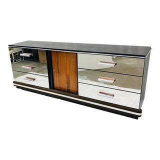 Vintage Mid Century Modern Mirrored Credenza For Sale