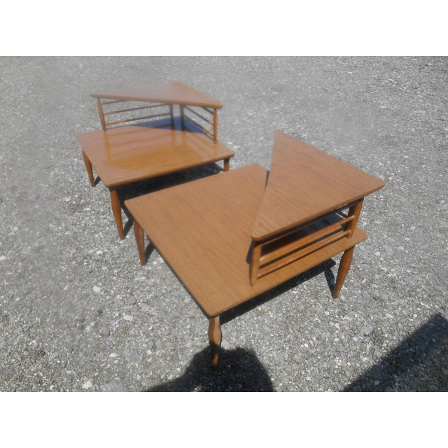 Vintage Pair 1960's MCM Baumritter Corner End Side Tables. These 2 Tier Triangle Top tables have tapered Legs and a wood...