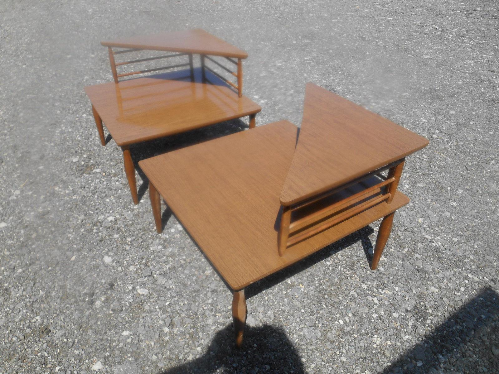 1960u0027s Danish Modern Baumritter Corner End Side Tables  A Pair   Image 2 ...