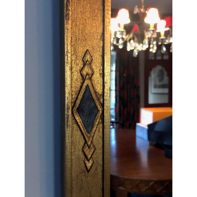 Mid Century Deco Hollywood Regency Gold and Black Wood Wall Mirror For Sale - Image 4 of 7