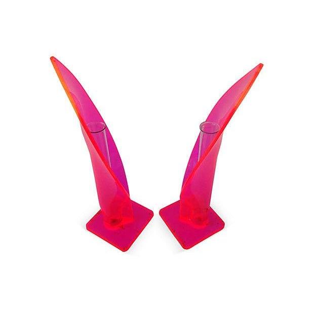 1970s Neon Lucite Bud Vases - Pair - Image 4 of 6