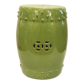 Asian Modern Drum Lime Glaze Garden Stool For Sale