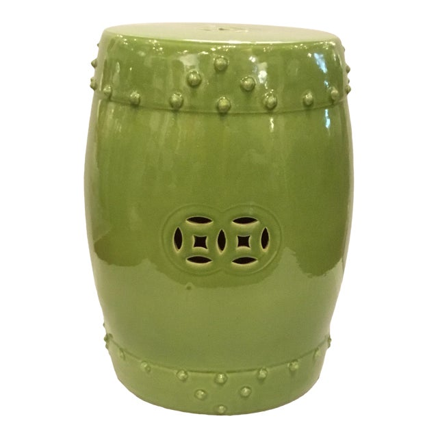 Asian Modern Drum Lime Glaze Garden Stool For Sale