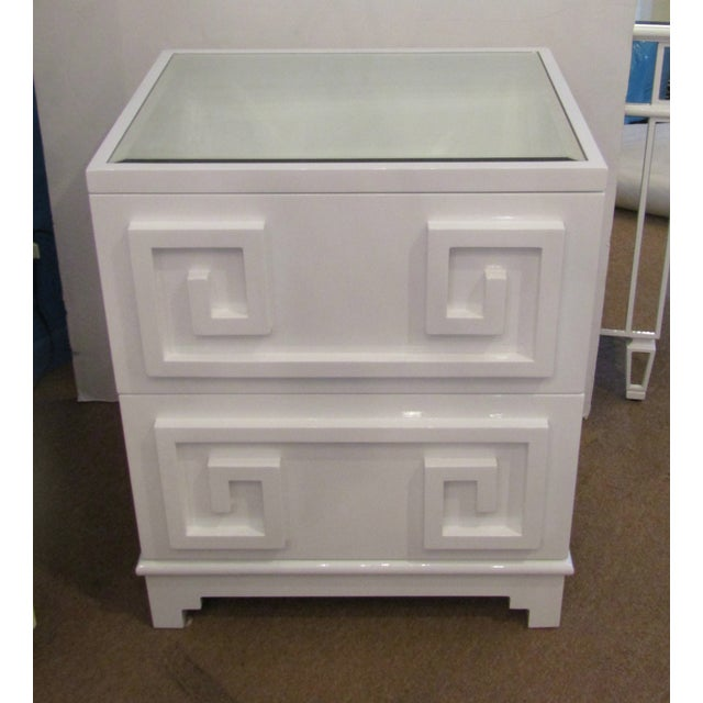 Contemporary Contemporary White Lacquer Side Table Cabinet For Sale - Image 3 of 5
