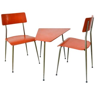 1950s Mid-Century Modern French Child's Table and Chairs - Set of 3 For Sale