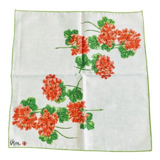 Vintage Vera Neumann Napkin Geranium Floral For Sale