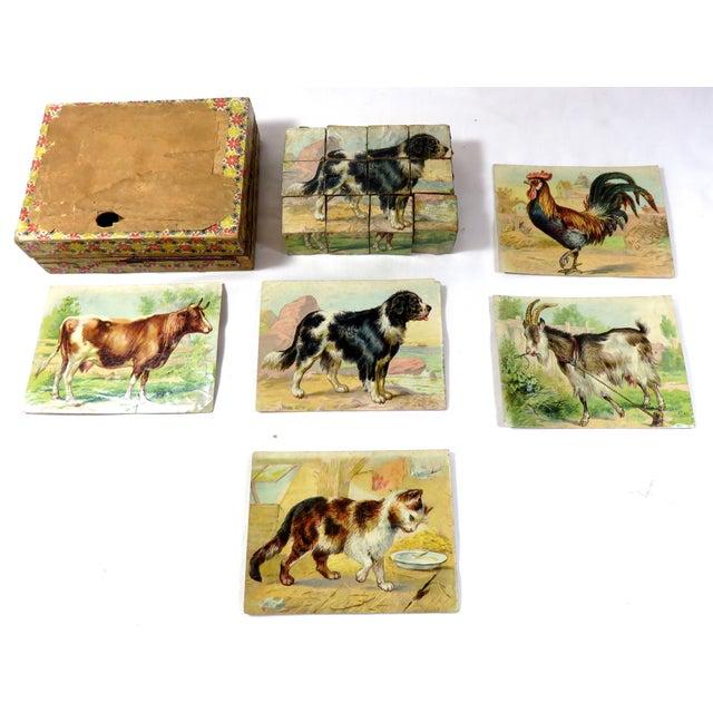 Antique Childs Wood Block Puzzle Set For Sale - Image 4 of 13