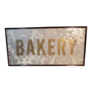 Reverse Painted Bakery Sign on Lacy White Glass in Metal Frame For Sale