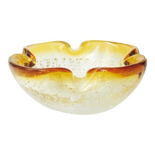 Vintage Murano Gold Art Glass Bowl For Sale