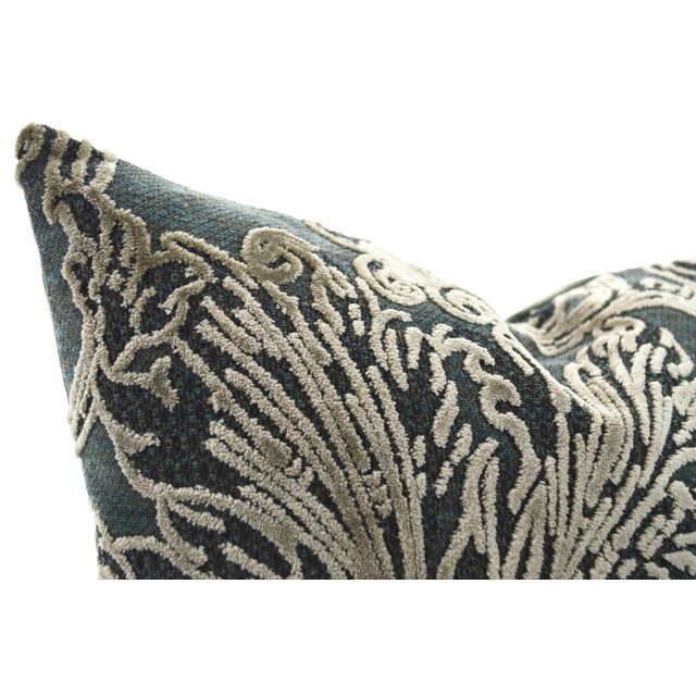 FirmaMenta Pillows are made in Italy with the finest italian fabrics. Damask velvet pillow with a gray leaf pattern on a...