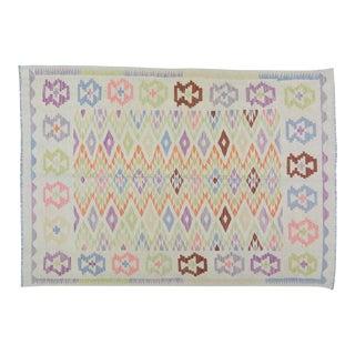 "Afghan Tribal Natural Color Hand Made Organic Wool Maimana Kilim,5'6""x7'10"" For Sale"