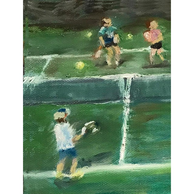 """The Tennis Game"" Original Oil Painting Framed Painting by Nancy T Van Ness For Sale - Image 9 of 13"